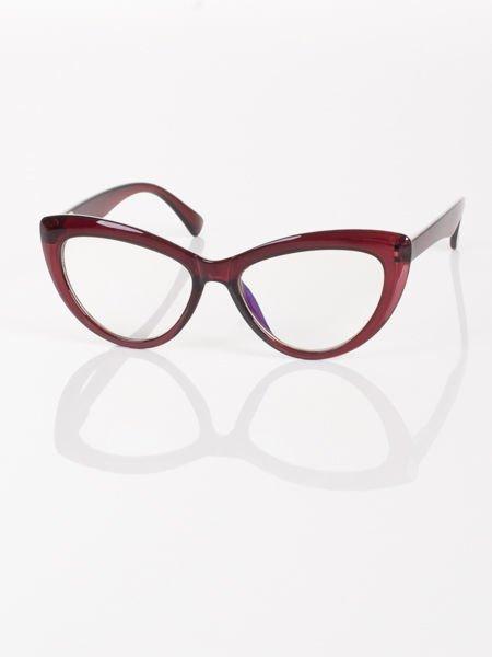 Modne okulary zerówki KOCIE OCZY w stylu Marlin Monroe- soczewki ANTYREFLEKS+system FLEX na zausznikach                              zdj.                              2