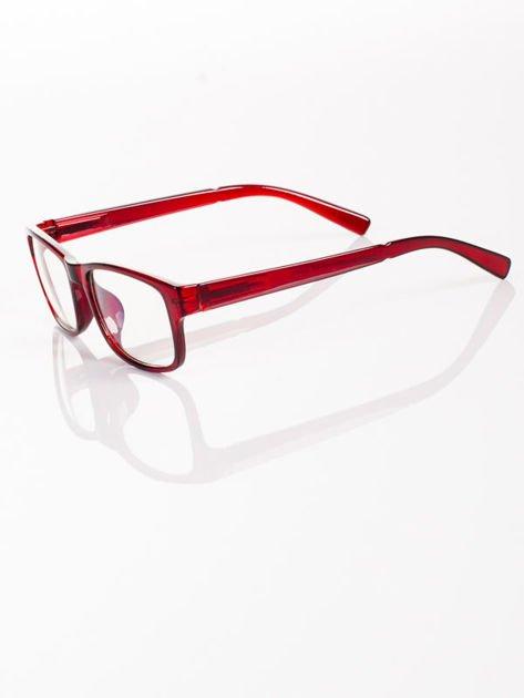 Modne czerwone okulary zerówki KUJONKI NERDY; soczewki ANTYREFLEKS+system FLEX na zausznikach                              zdj.                              4