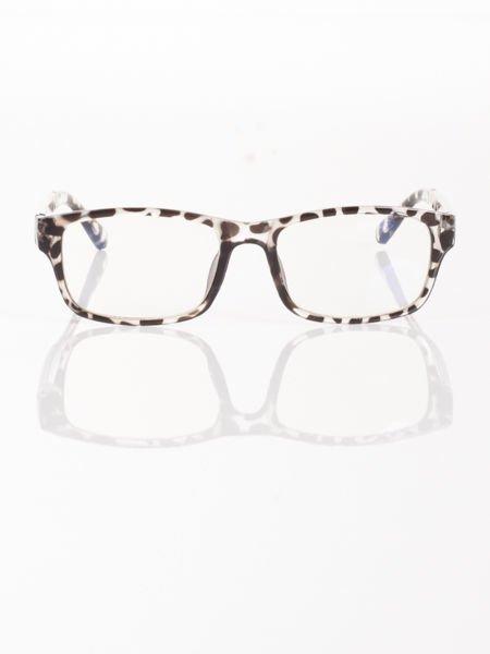 Modne okulary zerówki leopard KUJONKI NERDY; soczewki ANTYREFLEKS+system FLEX na zausznikach                              zdj.                              1