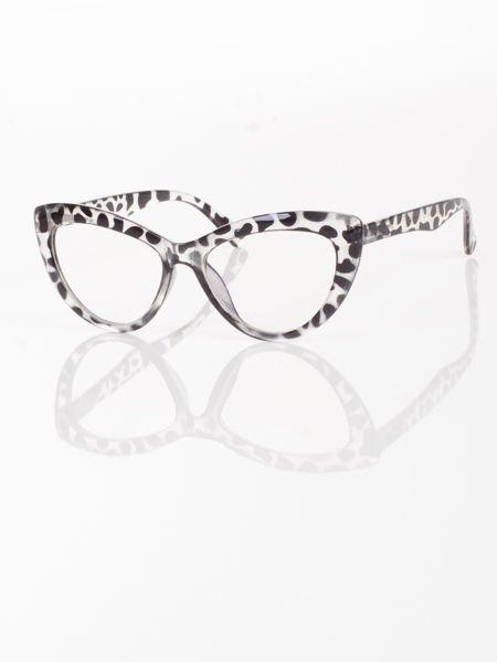 Modne okulary zerówki typu KOCIE OCZY w stylu Marlin Monroe;soczewki ANTYREFLEKS+system FLEX na zausznikach                                  zdj.                                  1