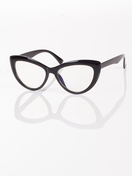 Modne okulary zerówki typu KOCIE OCZY w stylu Marlin Monroe- soczewki ANTYREFLEKS+system FLEX na zausznikach                                  zdj.                                  3
