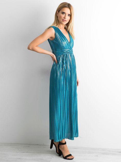 Morska plisowana sukienka maxi                              zdj.                              3