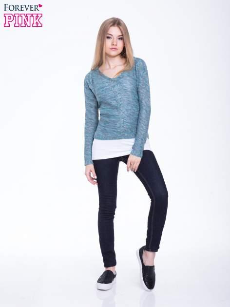 Morski sweter z warkoczowym splotem z przodu                                  zdj.                                  5