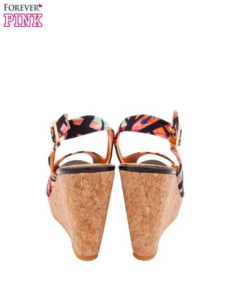 Multikolorowe sandały peep toe na koturnie korku                                  zdj.                                  3