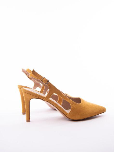 Musztardowe sandały Sabatina z noskiem w szpic bez pięty                              zdj.                              4