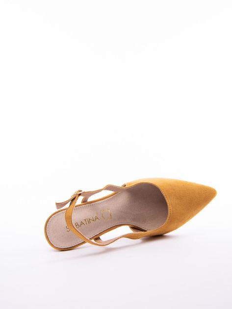 Musztardowe sandały Sabatina z noskiem w szpic bez pięty                              zdj.                              5