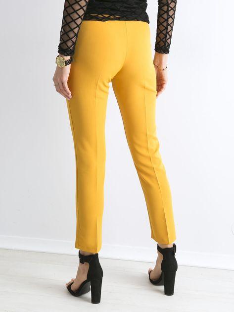 Musztardowe spodnie z wiązaniem                               zdj.                              2