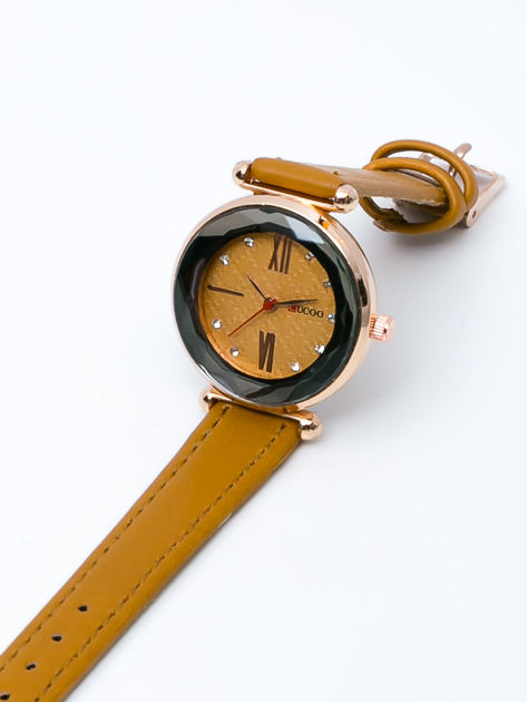 Musztardowy zegarek damski