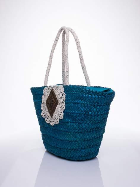Niebiesk torba koszyk plażowy z haftem                                  zdj.                                  2