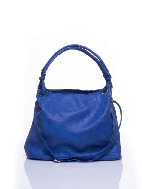 Niebieska ażurowa torba na ramię                                  zdj.                                  1