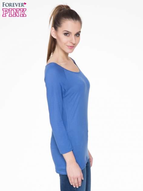 Niebieska basicowa gładka bluzka z rękawem 7/8                                  zdj.                                  3