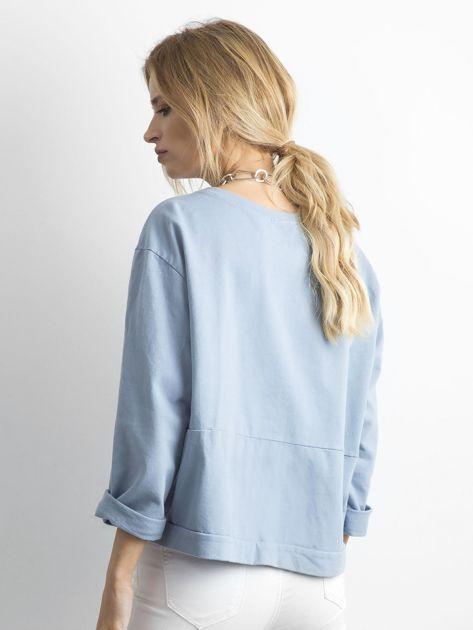 Niebieska bawełniana bluza oversize                              zdj.                              2