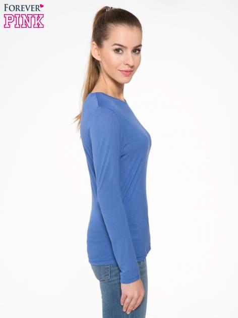 Niebieska bawełniana bluzka typu basic z długim rękawem                                  zdj.                                  3