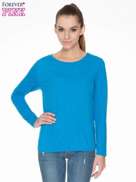 Niebieska bawełniana bluzka z gumką na dole