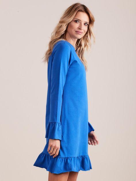 Niebieska bawełniana sukienka z falbanką                              zdj.                              3