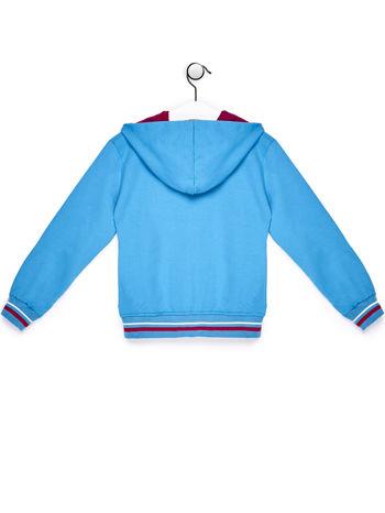 Niebieska bluza dla dziewczynki z kolorowym nadrukiem