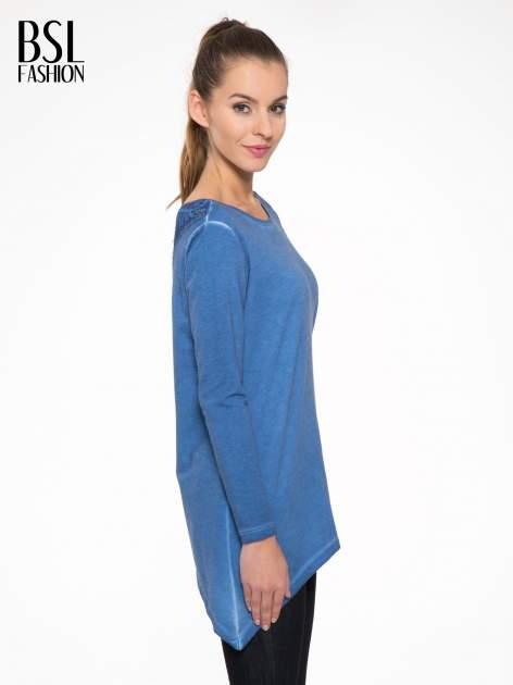 Niebieska bluza z koronkową wstawką na plecach                                  zdj.                                  3