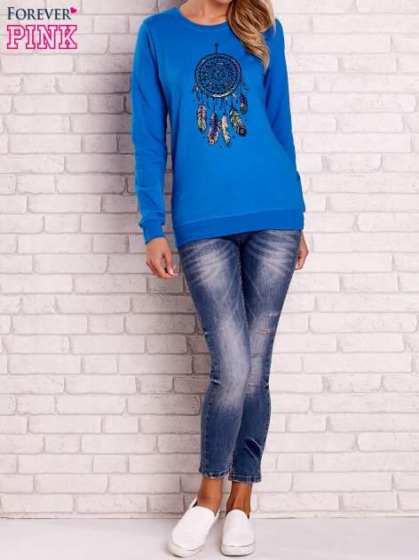 Niebieska bluza z nadrukiem łapacza snów                                  zdj.                                  2
