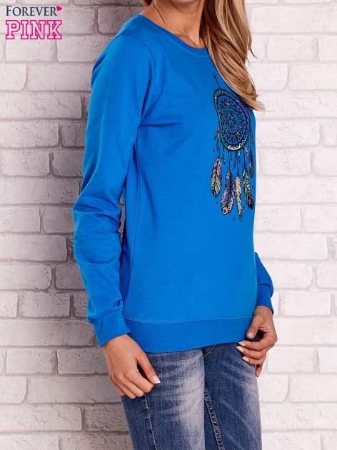 Niebieska bluza z nadrukiem łapacza snów                                  zdj.                                  4