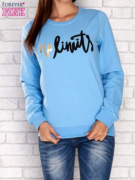 Niebieska bluza z napisem NO LIMITS                                  zdj.                                  1