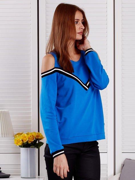 Niebieska bluza z ukośnymi ściągaczami                              zdj.                              5