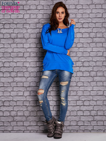Niebieska bluza z wiązaniami                                  zdj.                                  2