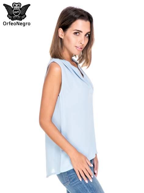 Niebieska bluzka koszulowa z dekoltem V-neck                                  zdj.                                  3