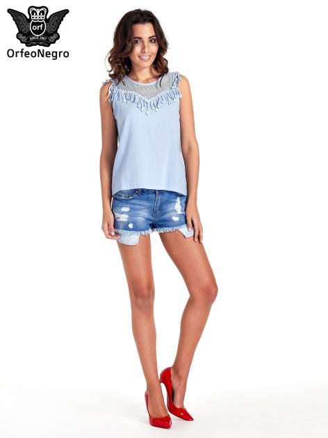 Niebieska bluzka koszulowa z frędzlami przy dekolcie                                  zdj.                                  7