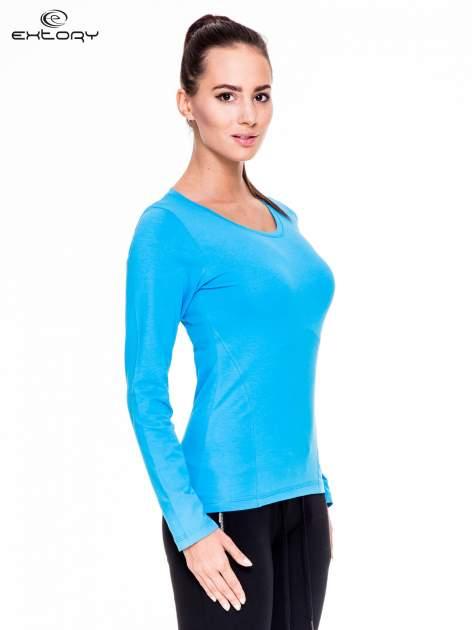 Niebieska bluzka sportowa z dekoltem U                                  zdj.                                  3