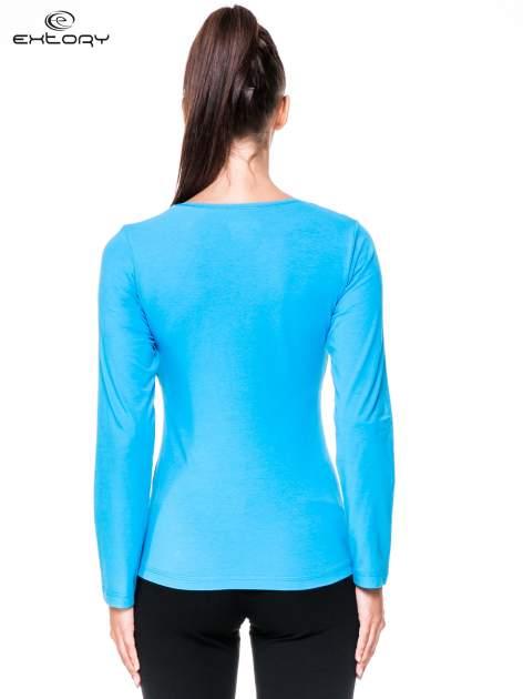 Niebieska bluzka sportowa z dekoltem V                                  zdj.                                  5