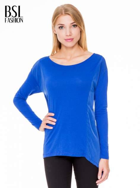 Niebieska bluzka z asymetrycznym bokiem                                  zdj.                                  1