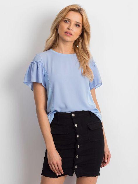 Niebieska bluzka z szerokimi rękawami                              zdj.                              1