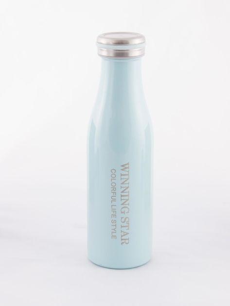 Niebieska butelka termos z zakrętką                               zdj.                              2