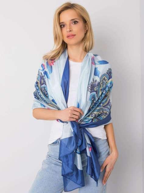 Niebieska chusta w kolorowe wzory