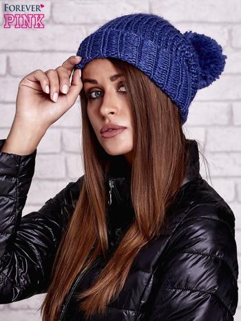 Niebieska czapka z metaliczną nicią i pomponem                                  zdj.                                  2