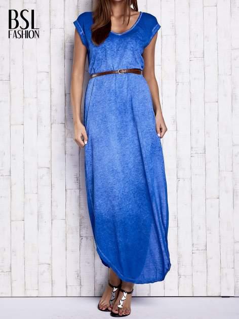 Niebieska dekatyzowana sukienka maxi                                  zdj.                                  1