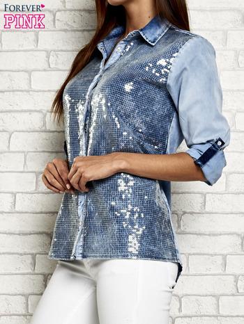 Niebieska denimowa koszula z cekinami                                  zdj.                                  4