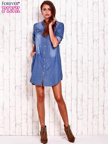 Niebieska denimowa sukienka koszula z kieszonkami                                  zdj.                                  4