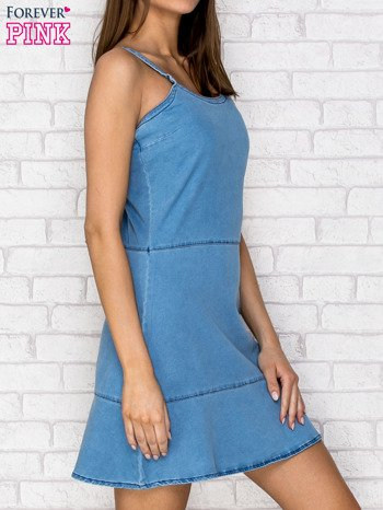 Niebieska denimowa sukienka na ramiączkach                                  zdj.                                  3