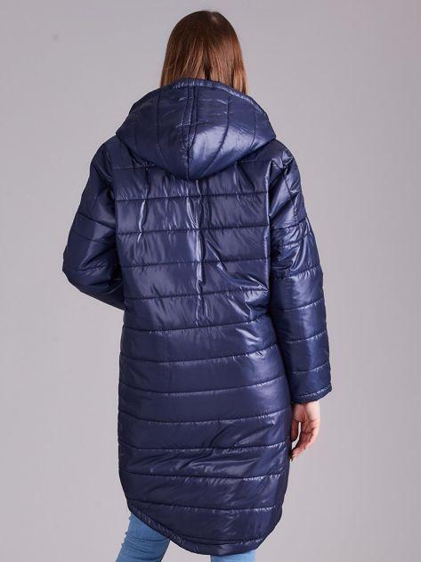 Niebieska długa kurtka przejściowa                              zdj.                              2