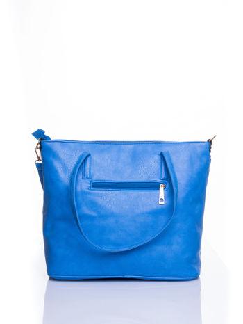 Niebieska fakturowana torba shopper bag                                  zdj.                                  3
