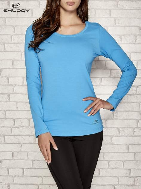 Niebieska gładka bluzka sportowa z dekoltem U PLUS SIZE                                  zdj.                                  1