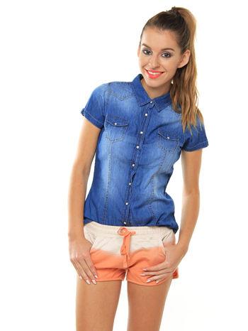 Niebieska jeansowa koszula z krótkim rękawem                                  zdj.                                  1