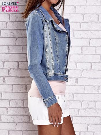 Niebieska jeansowa kurtka o kroju ramoneski                                  zdj.                                  4