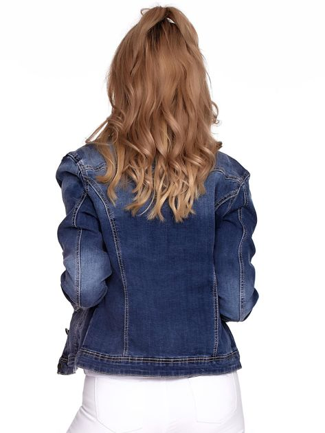 Niebieska jeansowa kurtka z kołnierzykiem PLUS SIZE                              zdj.                              2