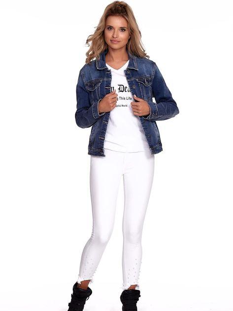 Niebieska jeansowa kurtka z kołnierzykiem PLUS SIZE                              zdj.                              6