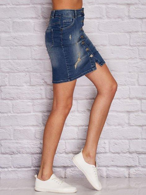 Niebieska jeansowa spódnica z przetarciami                              zdj.                              3