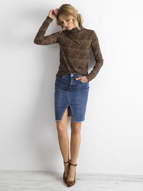 Niebieska jeansowa spódnica z rozcięciem                              zdj.                              4