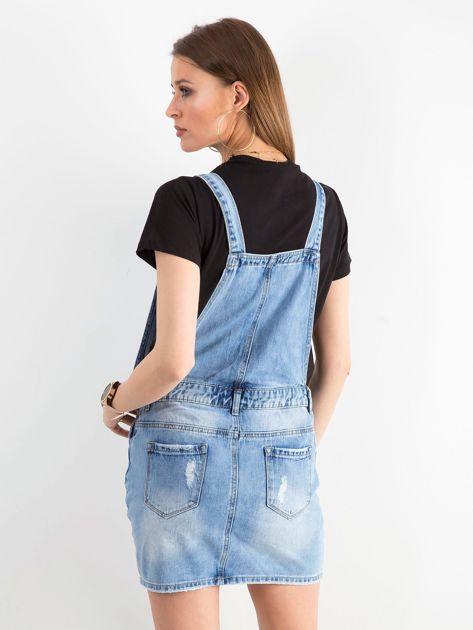 Niebieska jeansowa spódnica z szelkami                              zdj.                              2
