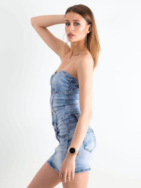 Niebieska jeansowa sukienka bandage                              zdj.                              3